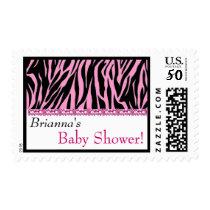 Custom Pink Zebra Print Baby Shower Postage