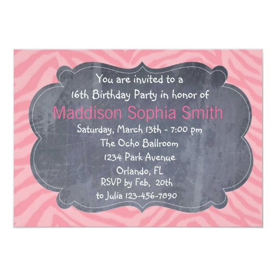 Custom Pink Zebra Sweet 16 Birthday Invitations