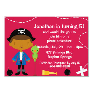 Custom Pirate and Parrot Birthday Party 5x7 Paper Invitation Card
