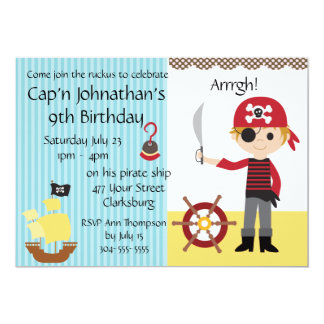 Custom Pirate Boy Birthday Party 5x7 Paper Invitation Card