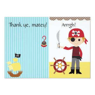 Custom Pirate Boy Thank You 5x7 Paper Invitation Card