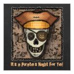 Custom Pirate Skull Halloween Party Invitation