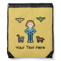 Custom Pixel Animal Rescue Girl Drawstring Backpack