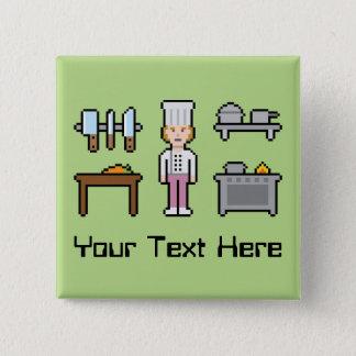 Custom Pixel Female Chef Pinback Button