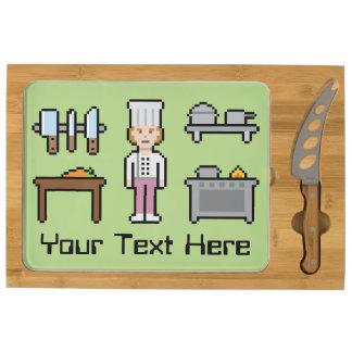 Custom Pixel Female Cook Cheese Board