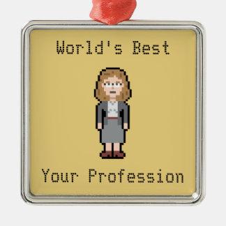 Custom Pixel Female Profession Metal Ornament