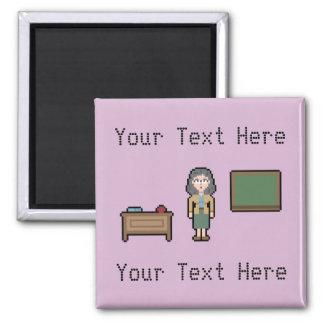 Custom Pixel Female Teacher 2 Inch Square Magnet