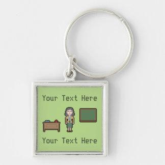 Custom Pixel Female Teacher Silver-Colored Square Keychain
