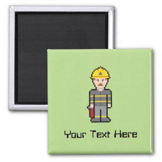 Custom Pixel Firefighter 2 Inch Square Magnet
