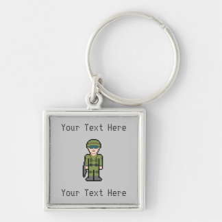 Custom Pixel Soldier Silver-Colored Square Keychain