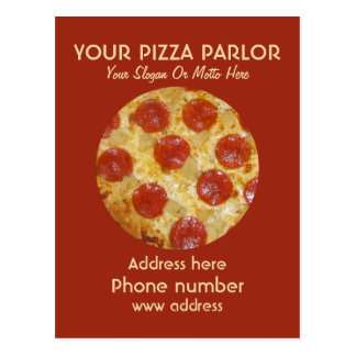 Custom Pizza Parlor Ad postcards