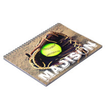 Custom Player Name Fastpitch Softball Notebook