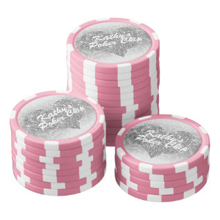 Custom Poker Chip Silver Faux Glitter Heart Floral at Zazzle