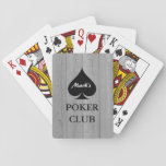 "Custom poker playing cards with spade suit<br><div class=""desc"">Custom poker club playing cards with suits design. Personalized name poker cards with ace of spades. Cool gift for men who love playing poker and other card games. Spade suit design with custom name poker club. Also available for bridge. Fun Birthday party present for gentlemen; dad, father, brother, uncle, friends,...</div>"