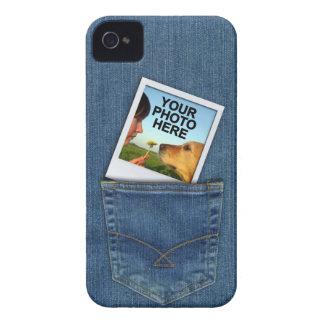 Custom Polaroid Photo in Denim Blue Jeans Pocket iPhone 4 Case-Mate Case