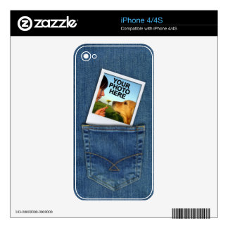 Custom Polaroid Photo in Denim Blue Jeans Pocket Decal For The iPhone 4