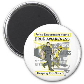 Custom Police Drug Awareness 2 Inch Round Magnet
