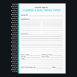 "Custom Polka Dot Turquoise Accent Recipe Page<br><div class=""desc"">Turquoise accents set off the classic black and white polka dots of this customizable recipe page. You can change the text to say &quot;inspired by&quot; and &quot;Nana Green&quot; or &quot;from the kitchen collection of&quot; and &quot;The Neighborhood Bakers&quot; or whatever you like. Great gift for new brides and bridal shower, first...</div>"