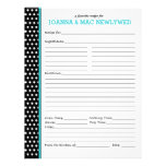 Custom Polka Dot Turquoise Accent Recipe Page<br><div class='desc'>Turquoise accents set off the classic black and white polka dots of this customizable recipe page. You can change the text to say &quot;inspired by&quot; and &quot;Nana Green&quot; or &quot;from the kitchen collection of&quot; and &quot;The Neighborhood Bakers&quot; or whatever you like. Great gift for new brides and bridal shower, first...</div>