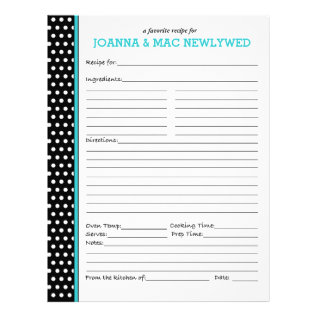 Custom Polka Dot Turquoise Accent Recipe Page at Zazzle