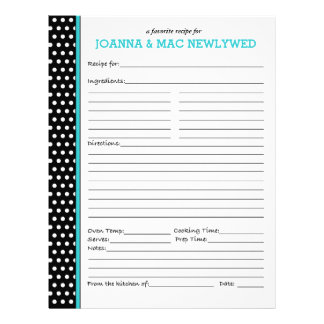 Custom Polka Dot Turquoise Accent Recipe Page