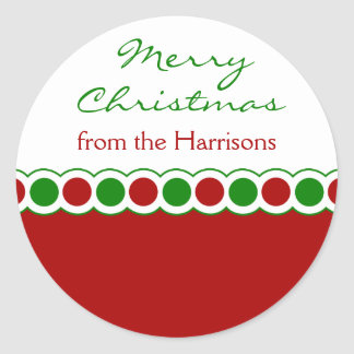 Custom Polka Dots Christmas Stickers