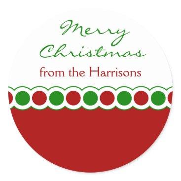 Christmas Themed Custom Polka Dots Christmas Stickers