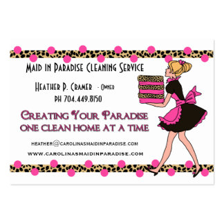 Custom Polka Dots Leopard Print Cleaning Service Large Business Card