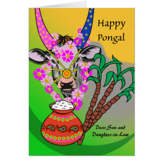 Custom Pongal for Son and Daughter-in-Law, Cow Card