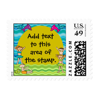 Custom Pool Party Postage Stamps
