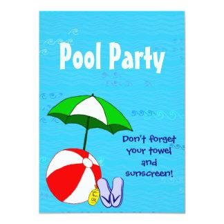 Custom Pool Party Swimming Theme Invitations