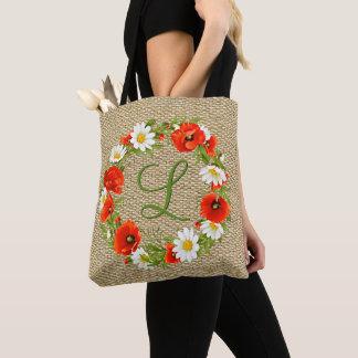 Custom Poppies Daisies Monogram Flower Wreath Tote Bag
