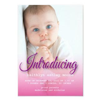 Custom portrait photo new baby girl card