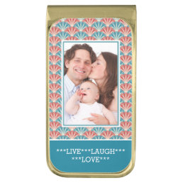 Custom Portrait Photo with Decorative Pattern Gold Finish Money Clip