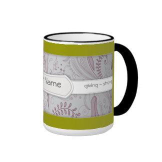 Custom Positive Affirmation Floral Coffee Mugs