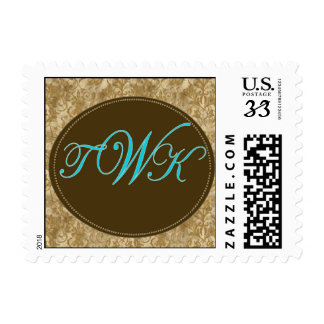 Custom Postage in turquoise and brown