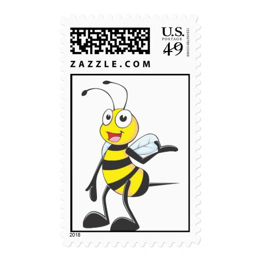 Custom Postage Stamps | Yellow Happy Bee Come