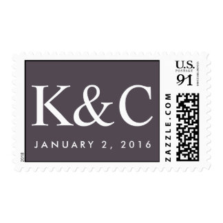 Custom postage with white text