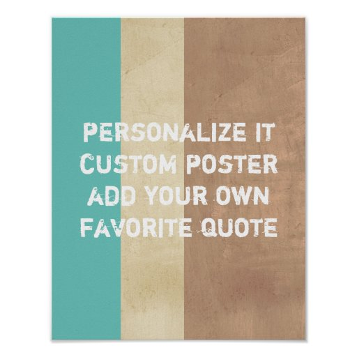 custom poster add your own quote on stripes | Zazzle