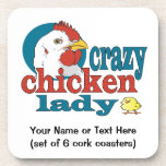 Custom Poultry Business Crazy Chicken Lady Drink Coaster