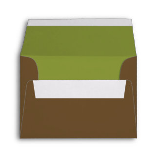 Custom Pre-Addressed Brown and Green Envelope