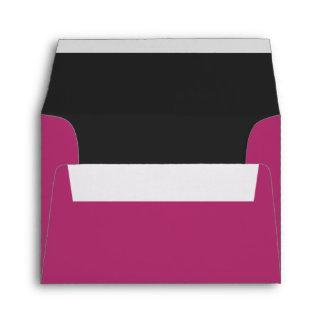 Custom Pre-Addressed Fuchsia Pink & Black Envelope