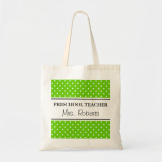 Custom pre school teacher tote bag | Apple green