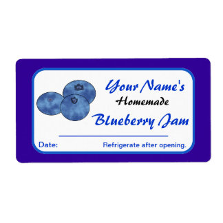 Custom Preserve Labels Blueberry Jam Add Name