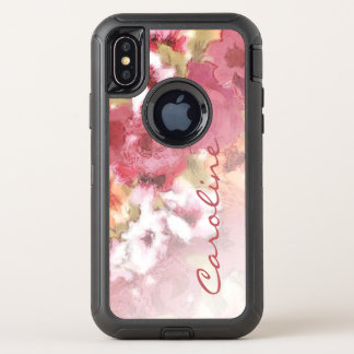 Custom Pretty Flowers Pattern Watercolor Painting OtterBox Defender iPhone X Case