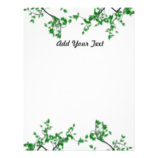 Custom Pretty Green Leaves Border Stationery Personalized Letterhead