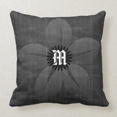 Custom Pretty Vintage Satin Flower Denim Throw Pillow