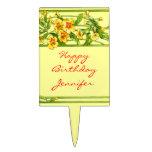 Custom Pretty Yellow Flower Vine Happy Birthday Cake Pick