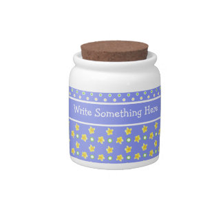 Custom Primroses Storage Jar: Polka Dots, Blue Candy Dishes