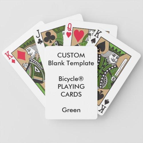 Custom Print Bicycle GREEN Playing Cards Blank